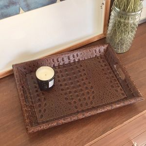 RESTORATION HARDWARE Leather Drink Serving Tray Md